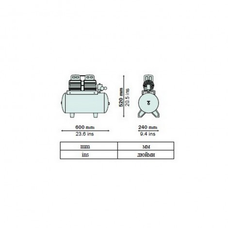 Розміри компресора AIRMED 135-24